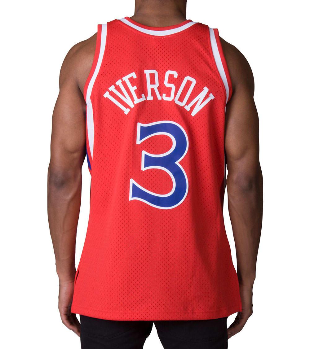 best sneakers 889b9 8a275 76ers Allen Iverson Swingman Jersey