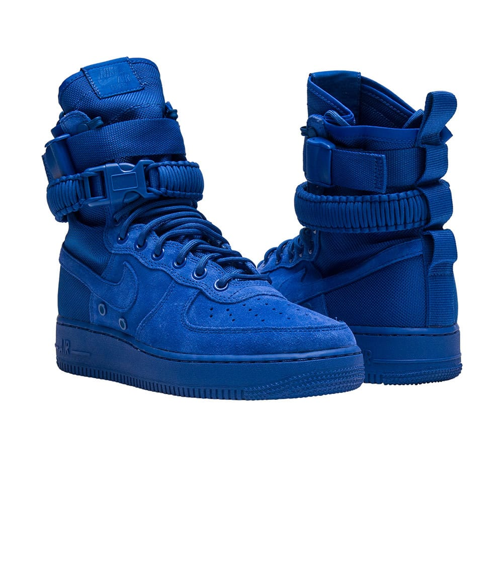 Nike Men's SF Air Force 1 Mid Shoes in Suede and Blue Fabric