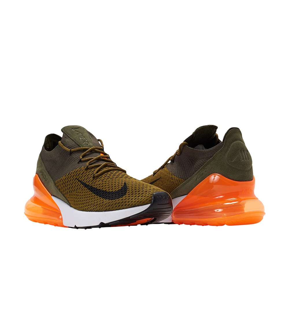 Nike Air Max 270 Flyknit OliveBlack Yellow Men's and