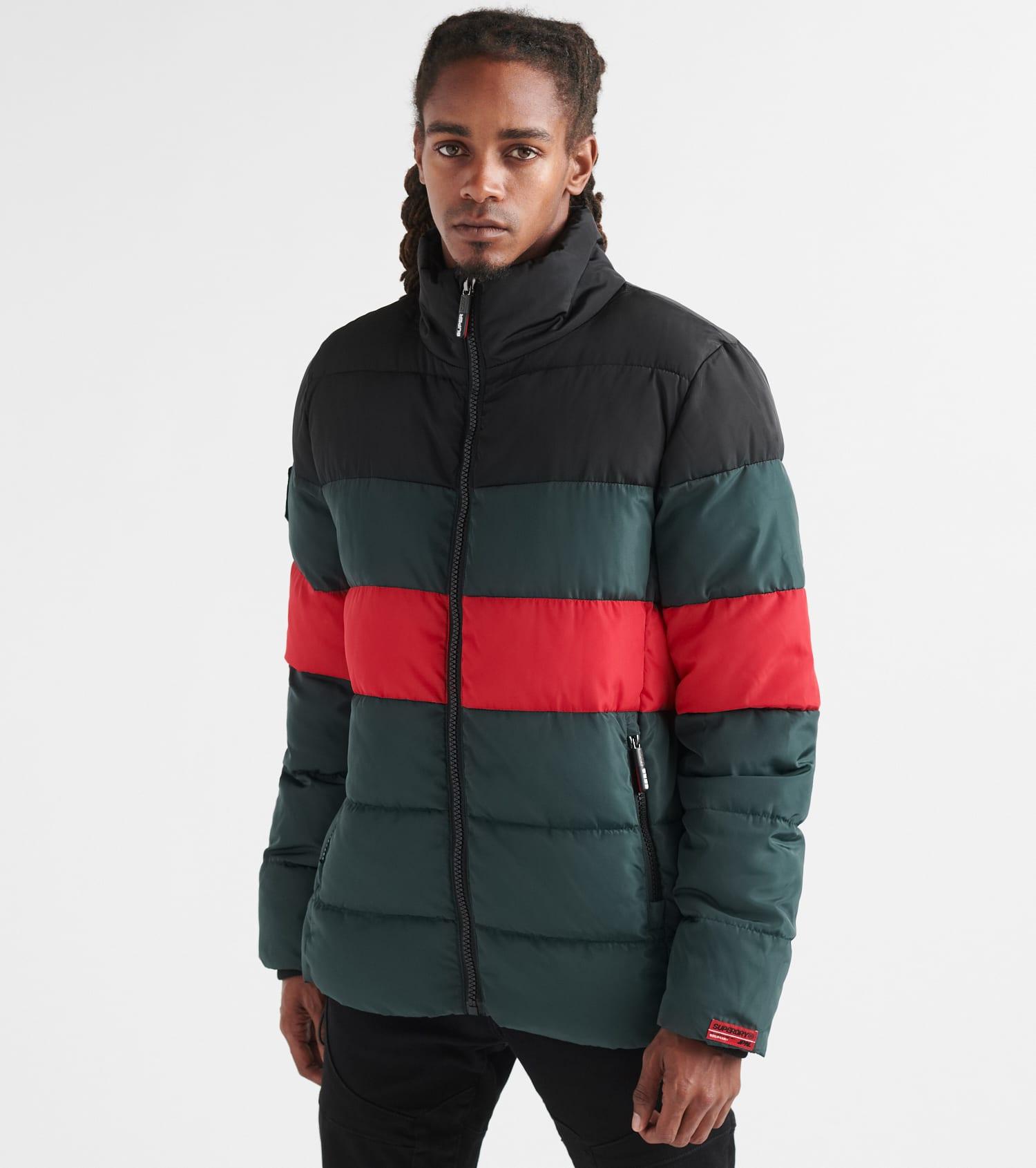 Color Stripe Sports Puffer Jacket