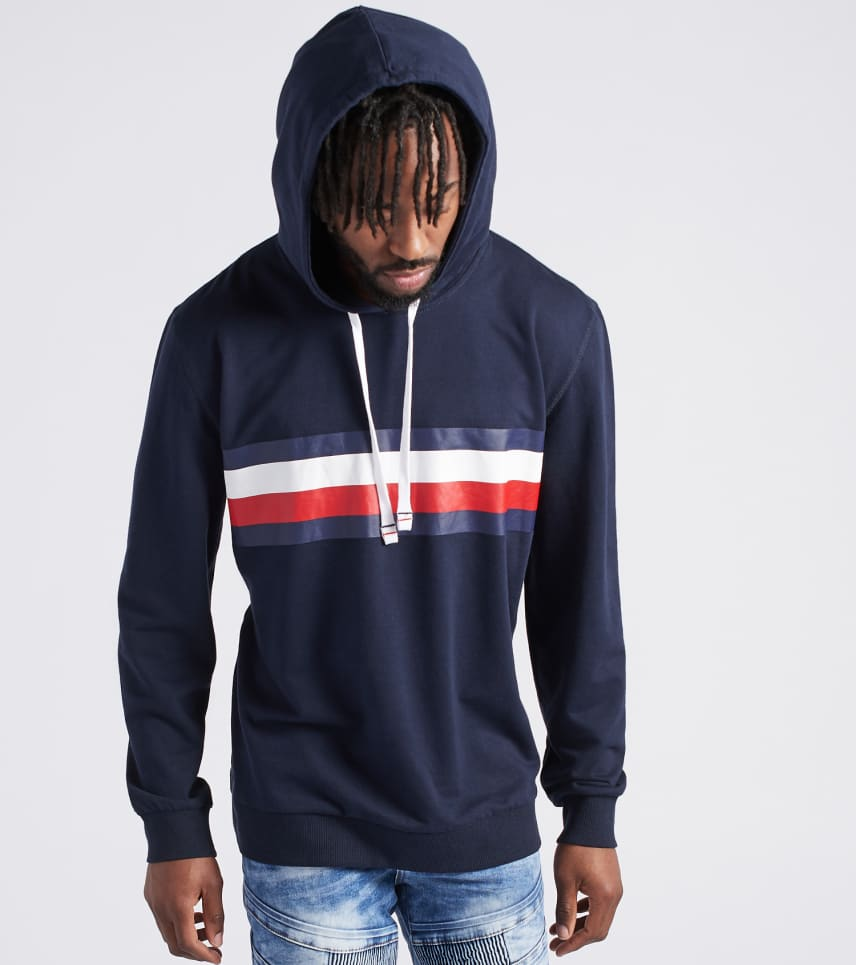 Tommy Hilfiger MENS Flag Pullover Hoodie Navy