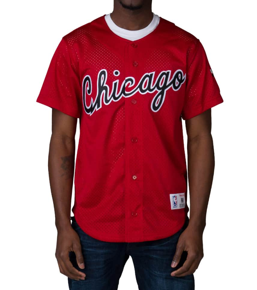 4f1e618feb1 Mitchell and Ness CHICAGO BULLS NBA MESH BUTTON JERSEY (Red ...