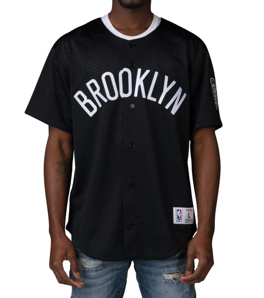 06a57213c Mitchell and Ness BROOKLYN NETS NBA MESH BUTTON FRONT (Black ...