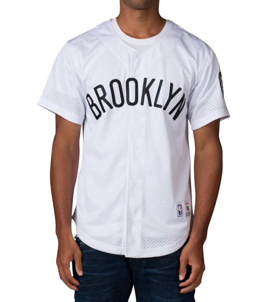 bd51a7103 Mitchell and Ness BROOKLYN NETS NBA MESH BUTTON FRONT (White ...