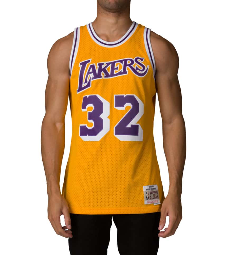 5fa80d7d131 Mitchell and Ness LA Lakers Magic Johnson Jersey (Gold ...