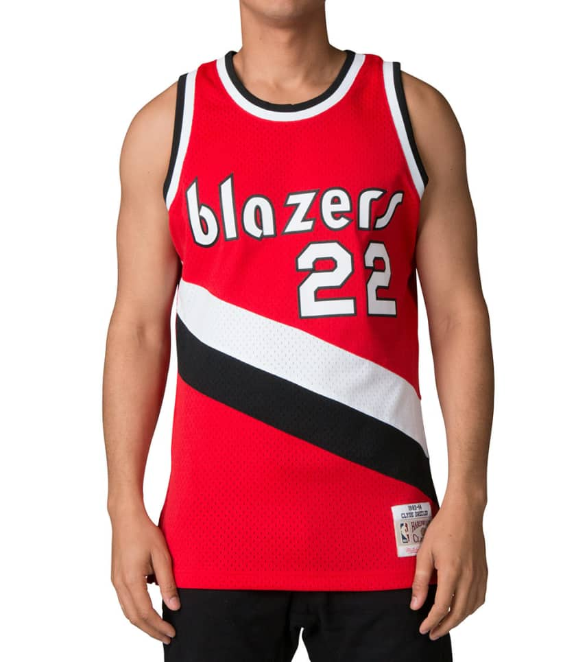 028e80f5fcd Mitchell and Ness Trailblazers Clyde Drexler Jersey (Red ...