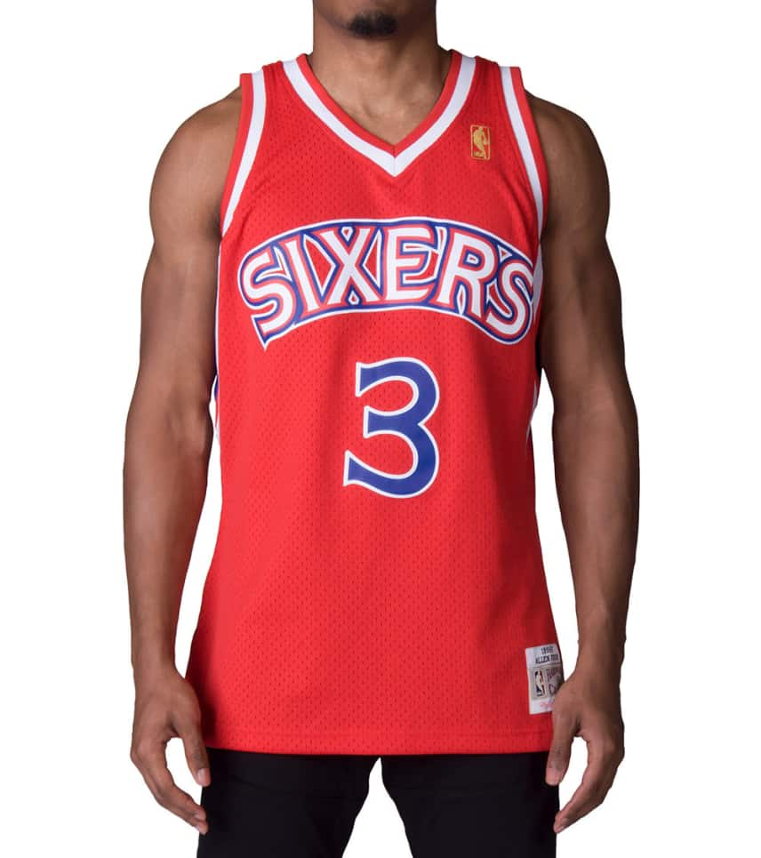 607bdb305 Mitchell and Ness 76ers Allen Iverson Swingman Jersey (Red ...