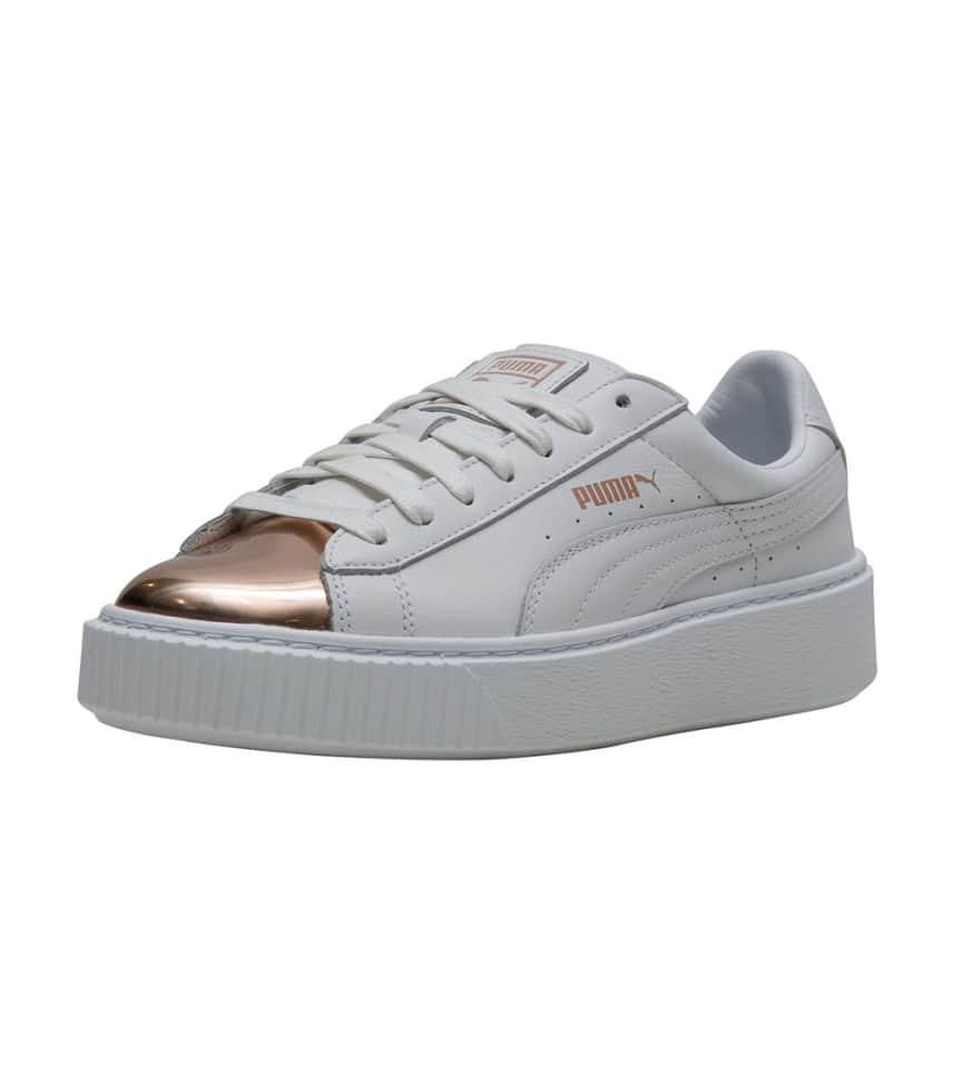 a868c7384b4 Puma Basket Platform Metallic Sneaker (White) - 366169-03