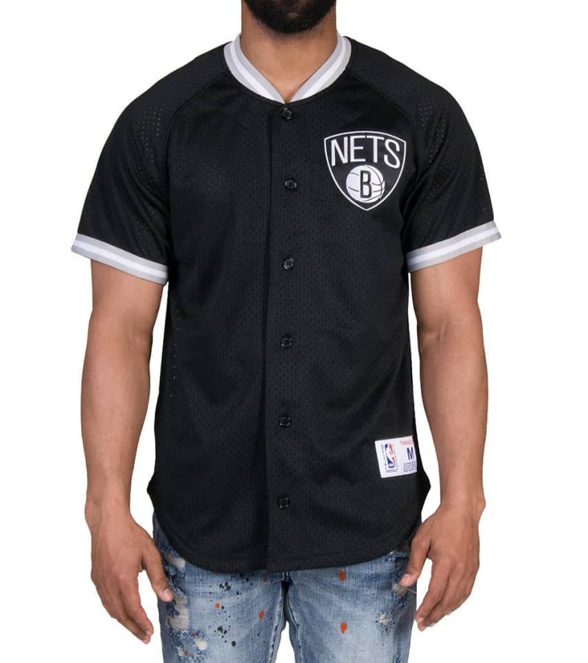 c50c88151 Mitchell and Ness Brooklyn Nets Button Down Jersey (Black ...