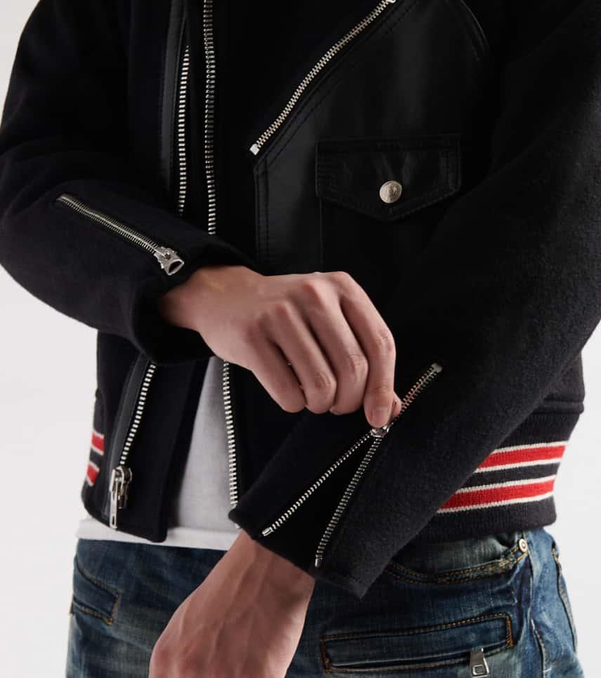 d9575a45a7de92 Schott Moto Varsity Hybrid Jacket (Black) - 719-BLK