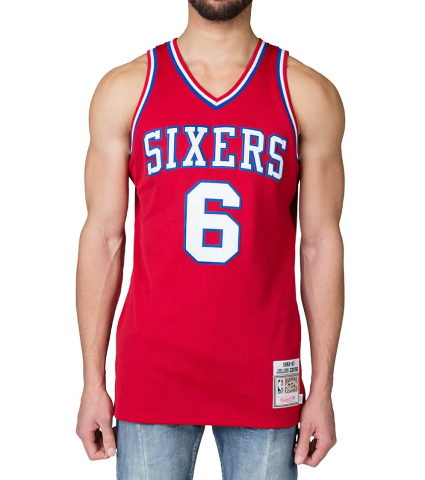266cc6f49 Mitchell and Ness Philadelphia 76ers Julius Erving 6 (Red ...