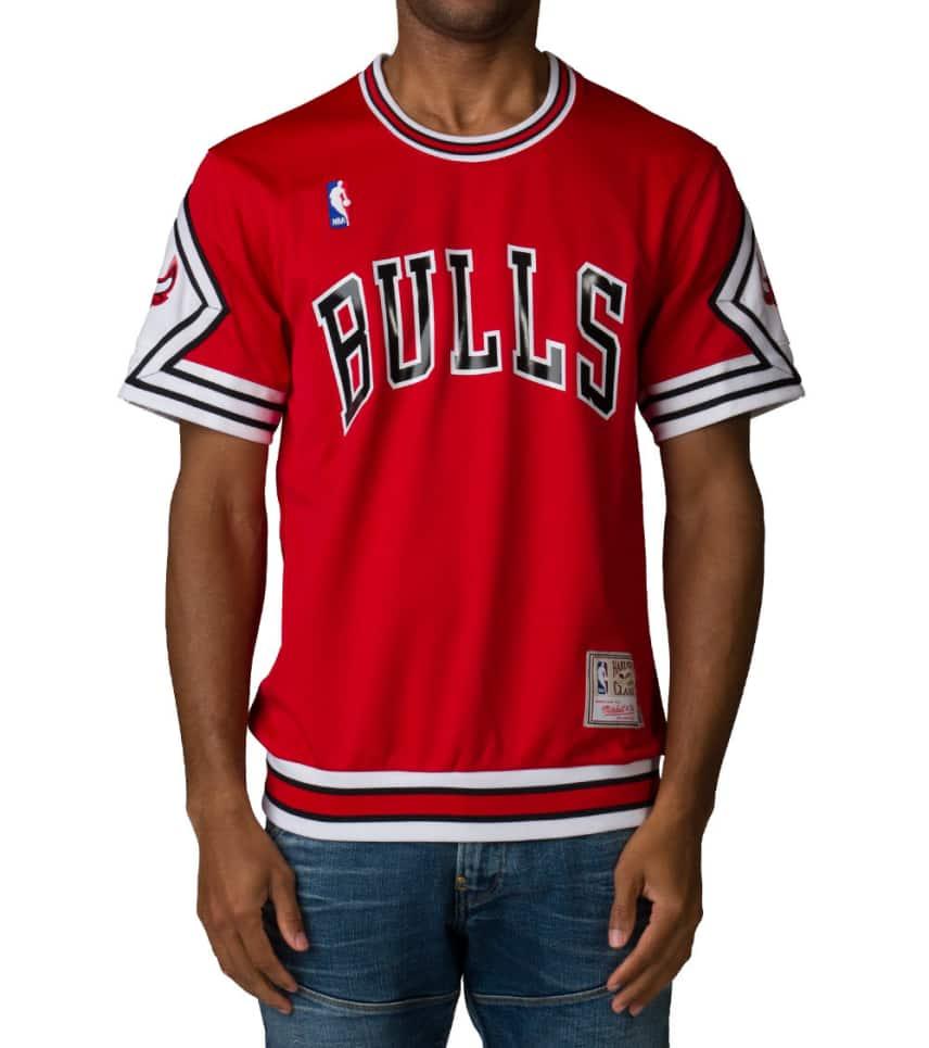 a0f3f15257d ... mitchell and ness tops chicago bulls baseball jersey 83240 3e72f  australia chicago bulls mitchell ness mens pinstriped mesh baseball jersey  shirt red ...