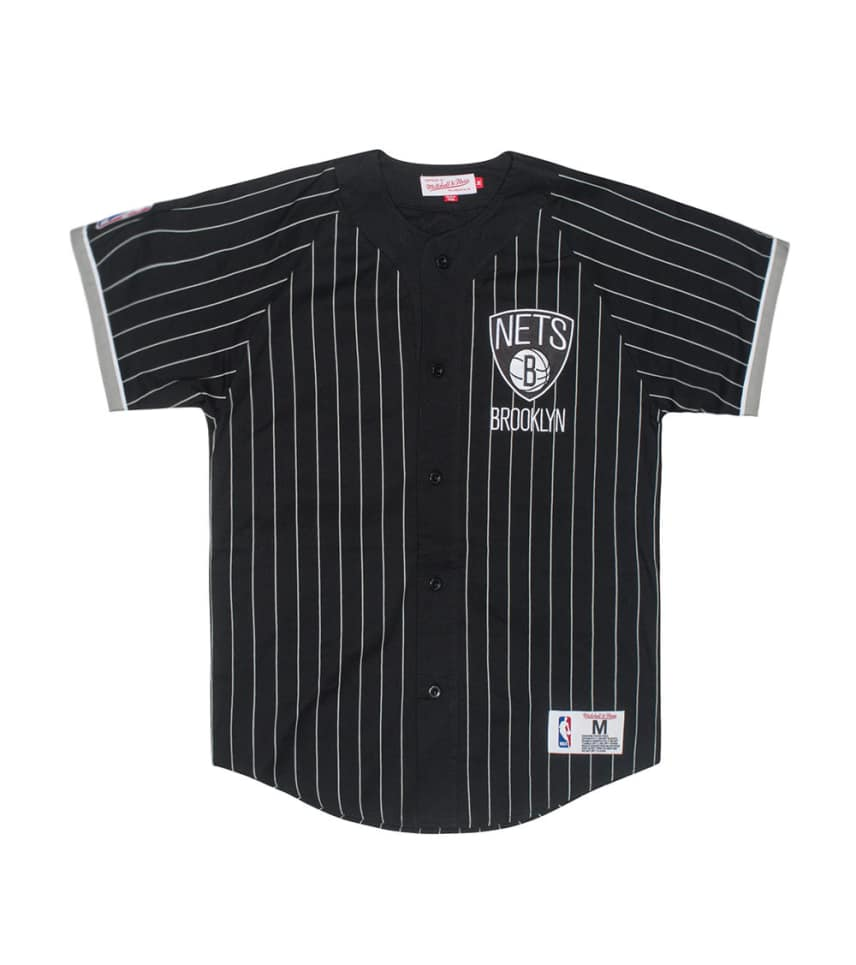 d08d0ca81 Mitchell and Ness NBA BROOKLYN NETS BUTTON FRONT JERSEY (Black ...