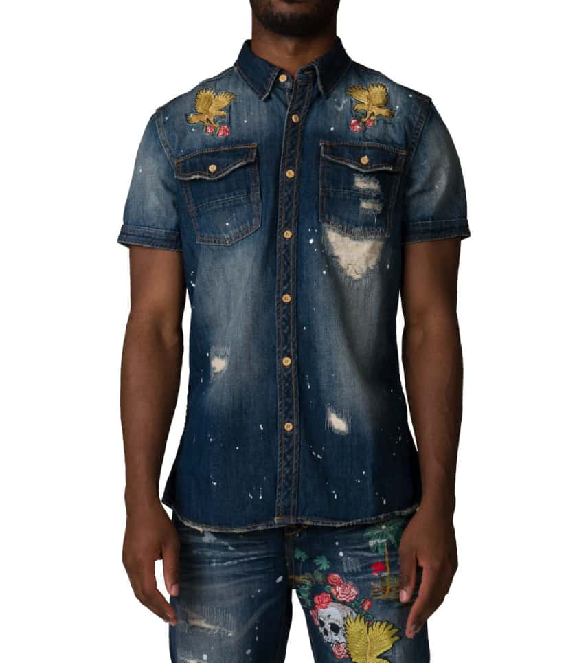 e969ced680c A.K.O.O. Maui Denim Shirt (Blue) - 7714601