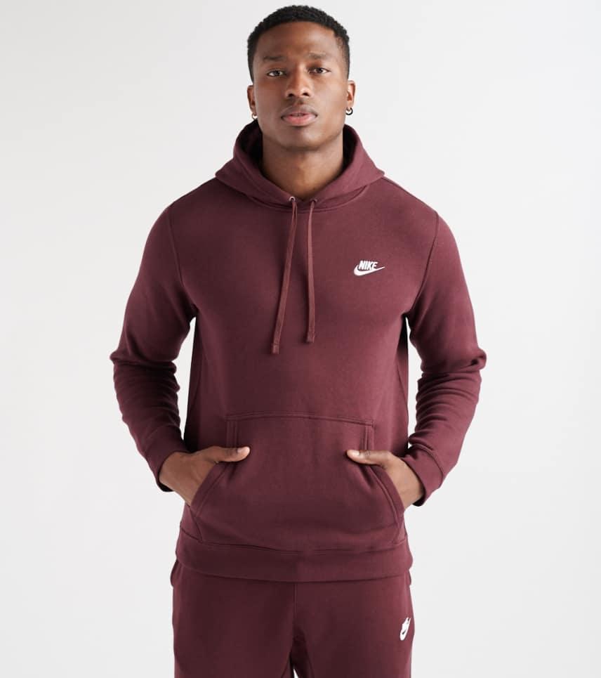 154e0274fe1b Nike Club Swoosh Pullover Hoodie (Burgundy) - 804346-653
