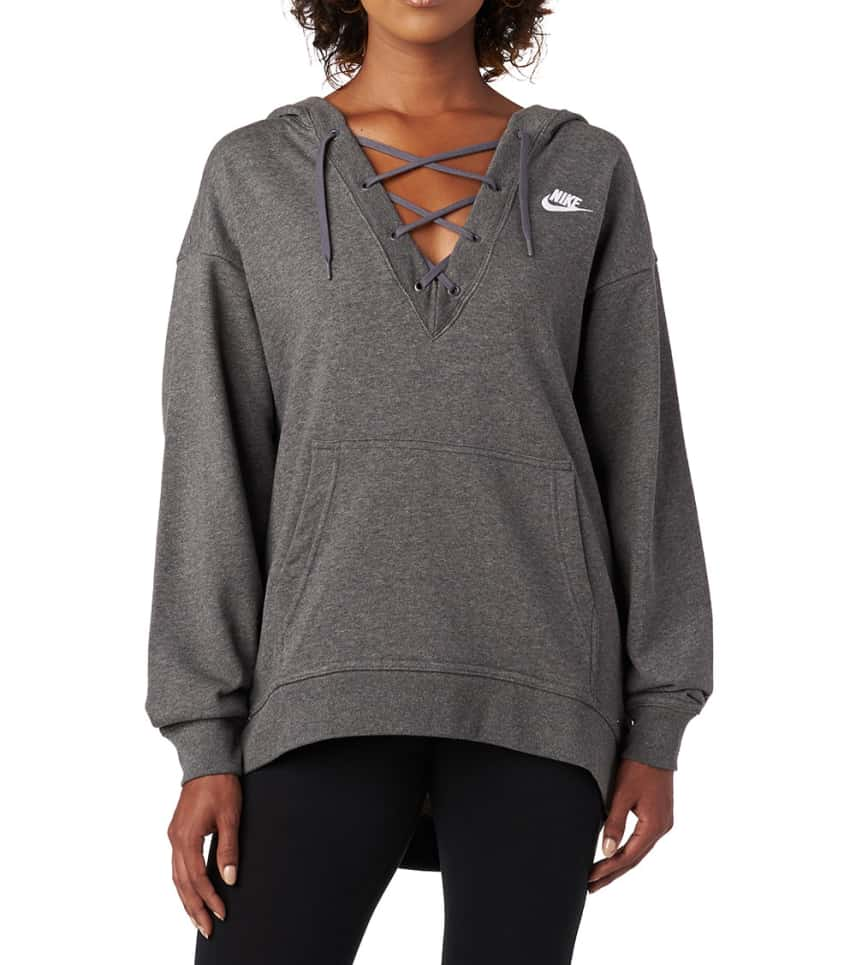0ec1484a9a42 Nike FT Lace Up Hoodie (Dark Grey) - 929531-071