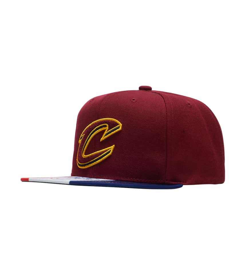 9cf892b8a45 Mitchell and Ness Cavs City Flag Snapback Cap (Dark Red ...