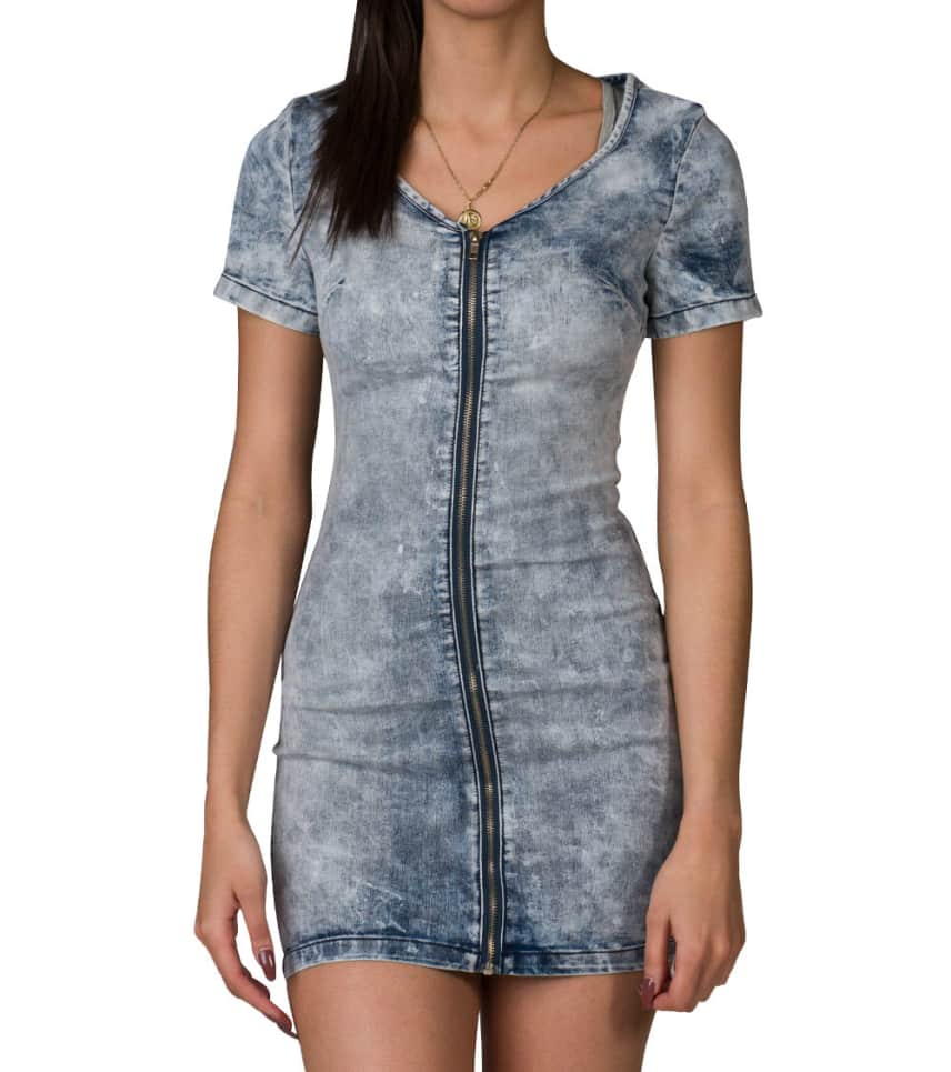 0af28e9be9 Essentials ZIP FRONT STRETCH DENIM DRESS (Medium Blue) - D6614BB-ACB ...