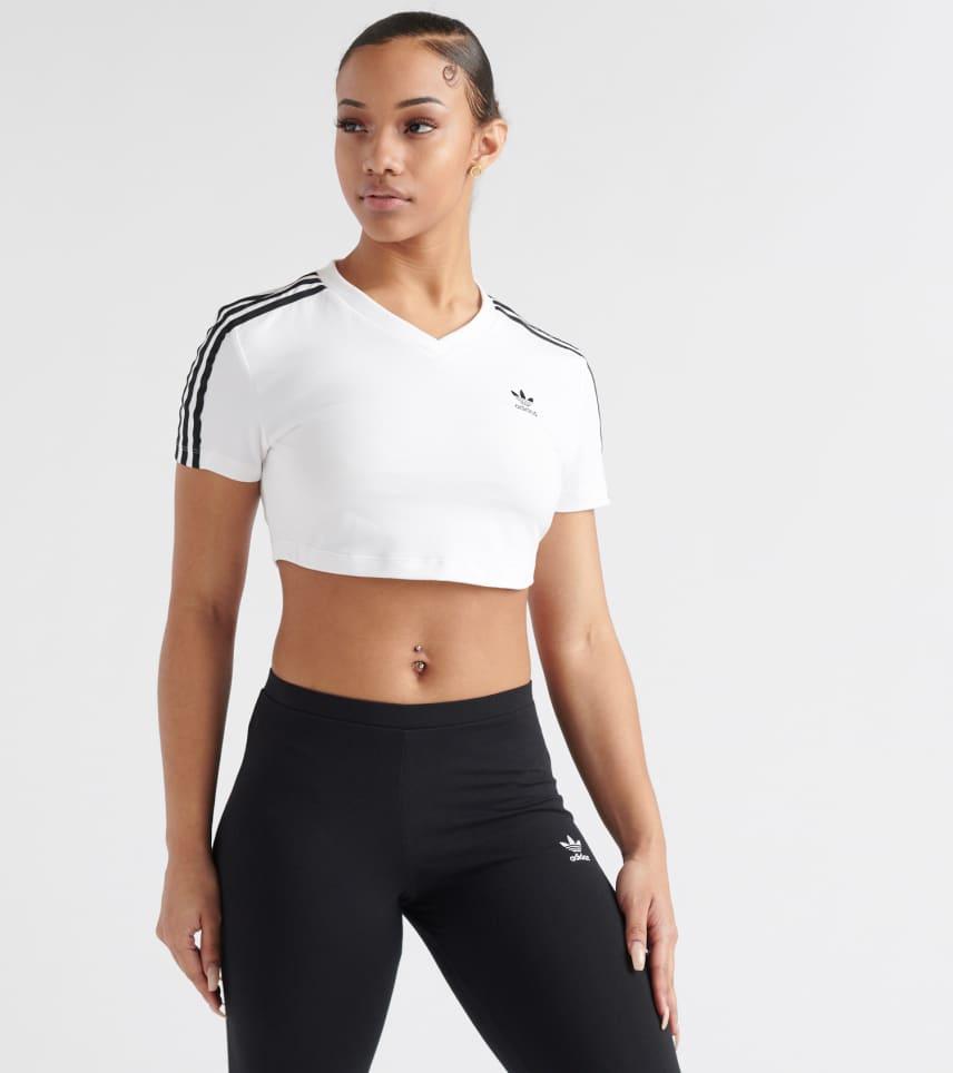 413f1172347d adidas Cropped 3-Stripes Tee (White) - DV2620-100