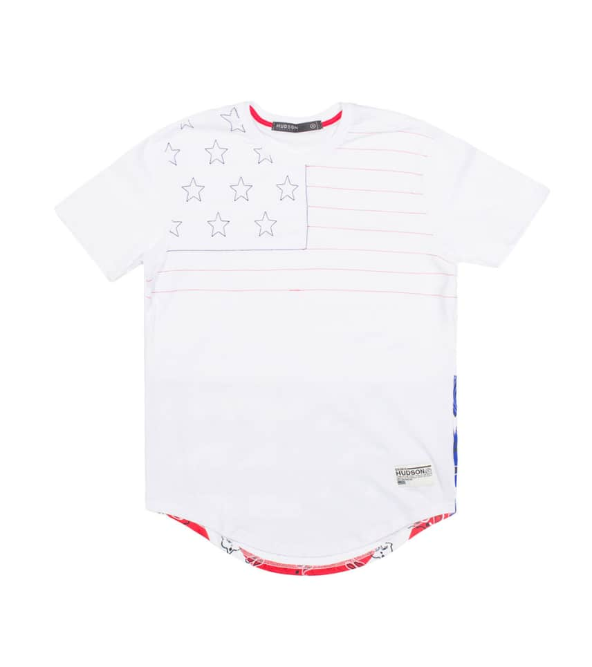 ... HUDSON OUTERWEAR - Tees and Polos - LAND OF THE FREE ELONGATED TEE ... 65e8ab4c5f37