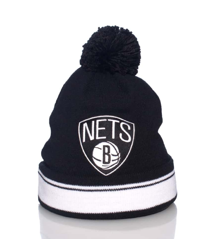 b869c832eaf Mitchell and Ness Brooklyn Nets Stripe Cuffed Knit Hat (Black ...