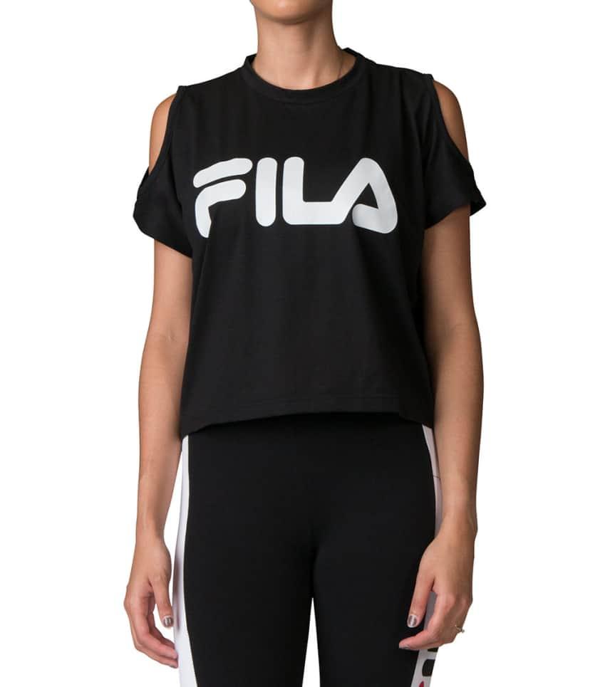 755f1ae10d2bdf FILA Nikki Crop Cold ShoulderTee (Black) - LW173F95