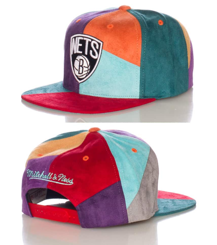 Mitchell and Ness Brooklyn Nets NBA Suede Snapback Cap (Multi-color ... 93eb86b36ec