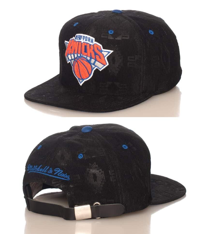 66229569c9f Mitchell and Ness CORDUROY NY KNICKS NBA STRAPBACK CAP (Black ...