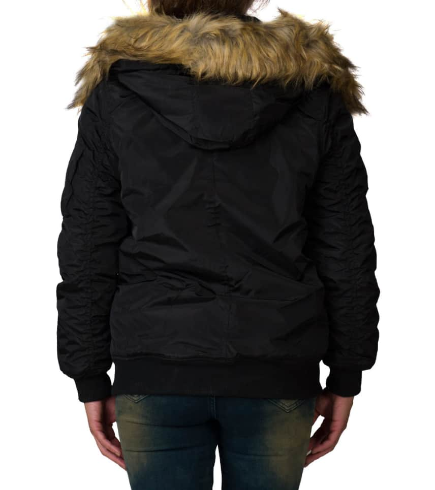 f6ccbb3dec0 ... Essentials - Heavy Jackets - NYLON PLUSH LINED FUR HOOD BOMBER JACKET  ...