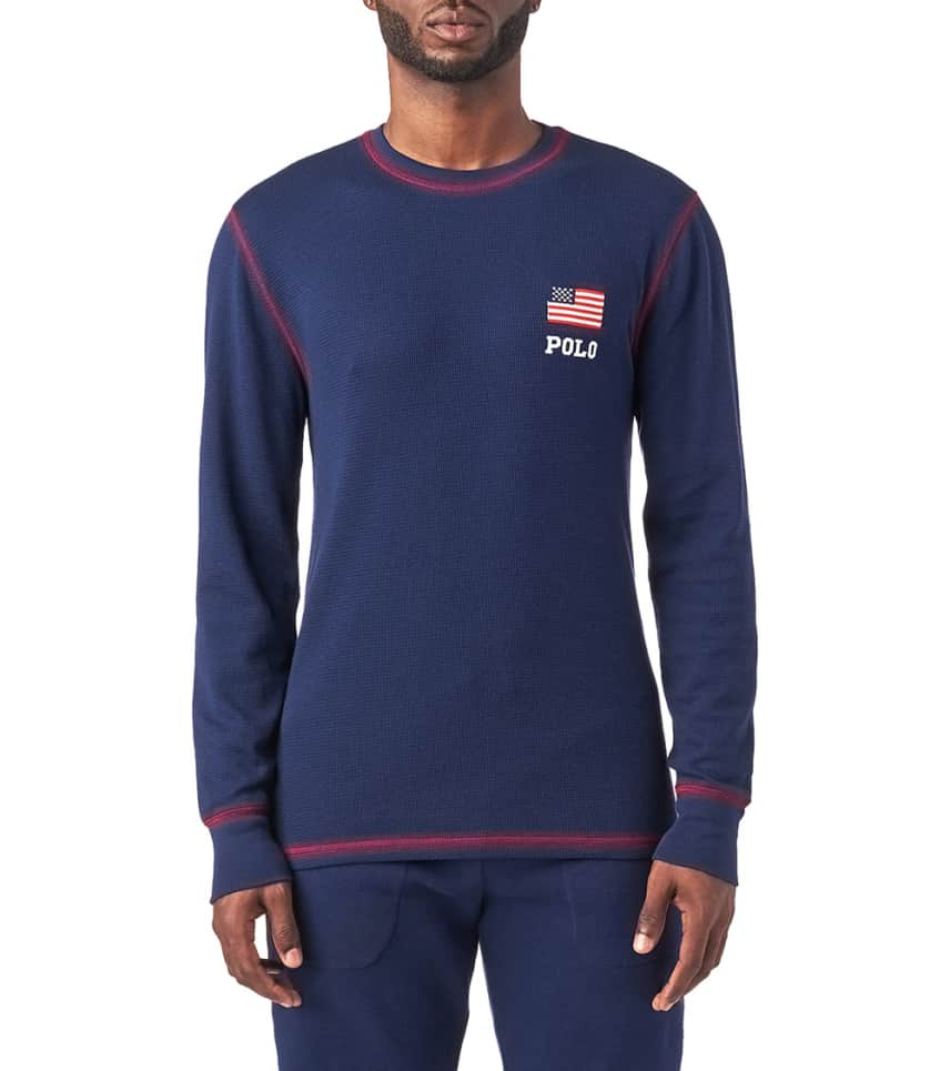 Polo American Flag Long Sleeve Thermal Navy Pw35hf Qhd Jimmy Jazz