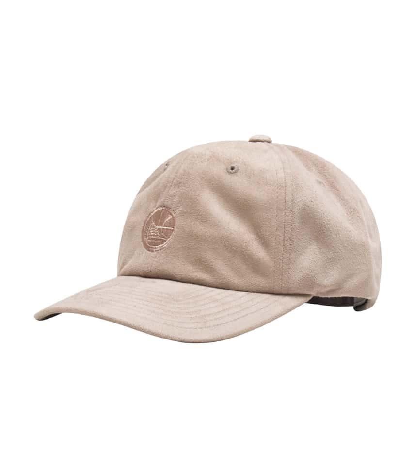 873475fb5b Mitchell and Ness Golden State Warriors Suede Dad Hat (Dark Beige ...