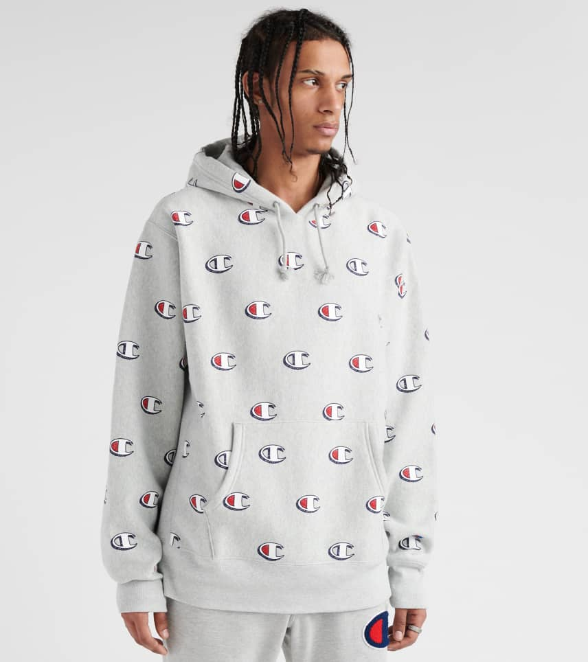 450ff494 Champion Reverse Weave All-Over Print Hoodie (Grey) - S2974115-KZL ...