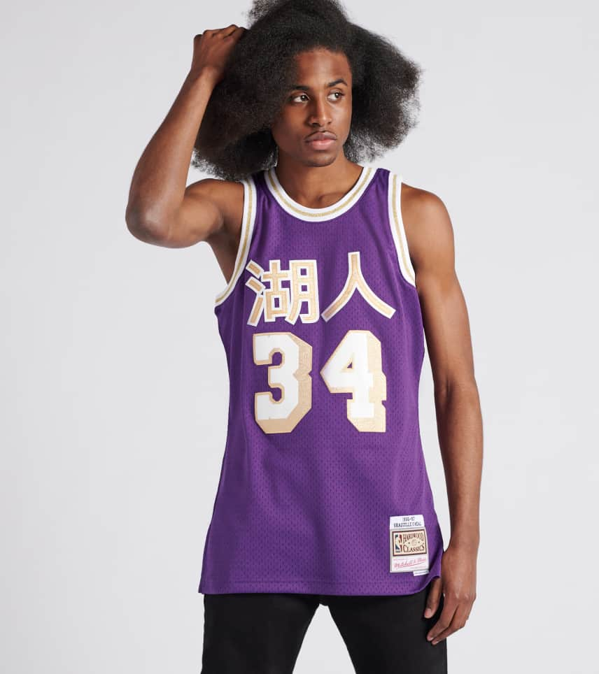 f099e3dae Mitchell and Ness Lakers Shaquille O Neal (Purple) - SMJYNG18-SHQ ...