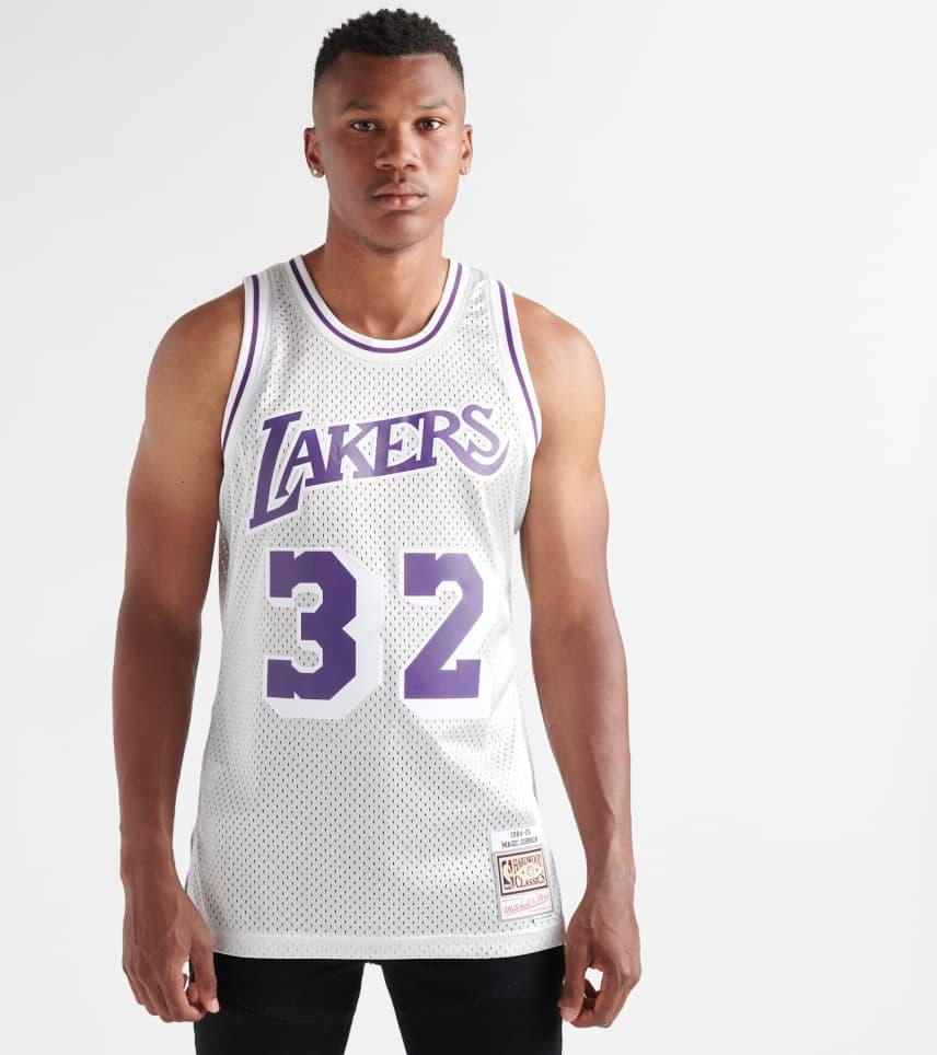 3d18102522e Mitchell and Ness Magic Johnson LA Lakers Platinum Jersey (Grey ...