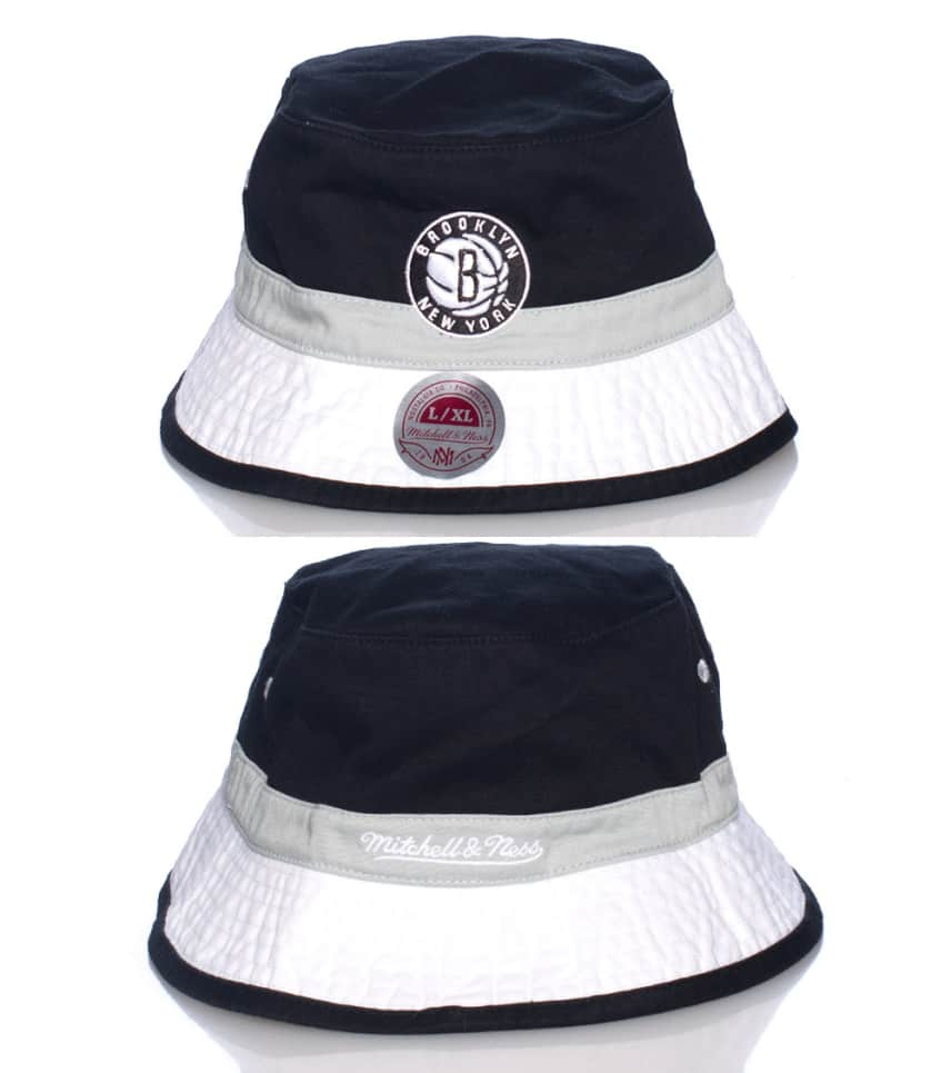 8aec644498 Mitchell and Ness BROOKLYN NETS NBA BUCKET HAT (Black) - U128ZNETS ...