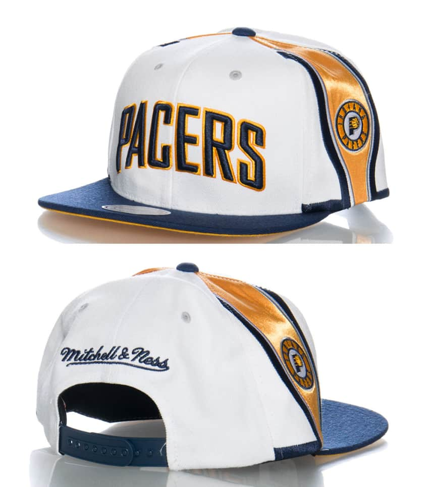 13b69a1e48a43 Mitchell and Ness INDIANA PACERS NBA SNAPBACK CAP (White ...