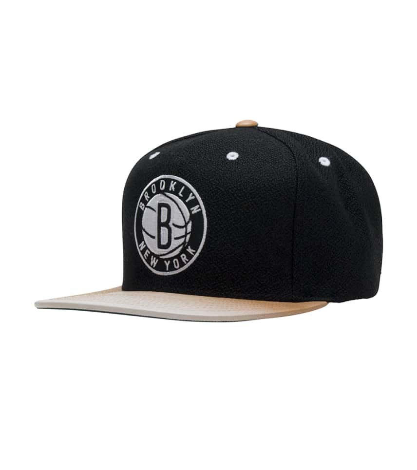 30308b37647 Mitchell and Ness Brooklyn Nets Painted Leather Strapback (Black ...