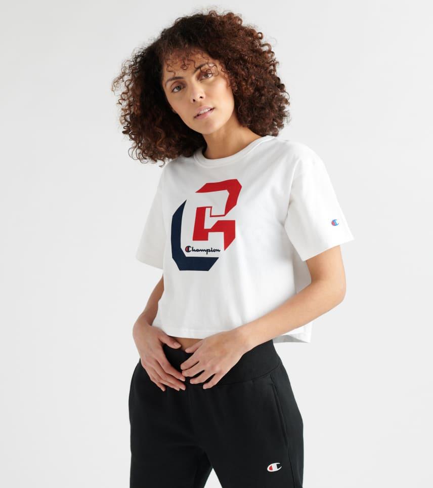 8515636f1b6 Champion Shadow Logo Crop Tee (White) - WL956G54-045 | Jimmy Jazz