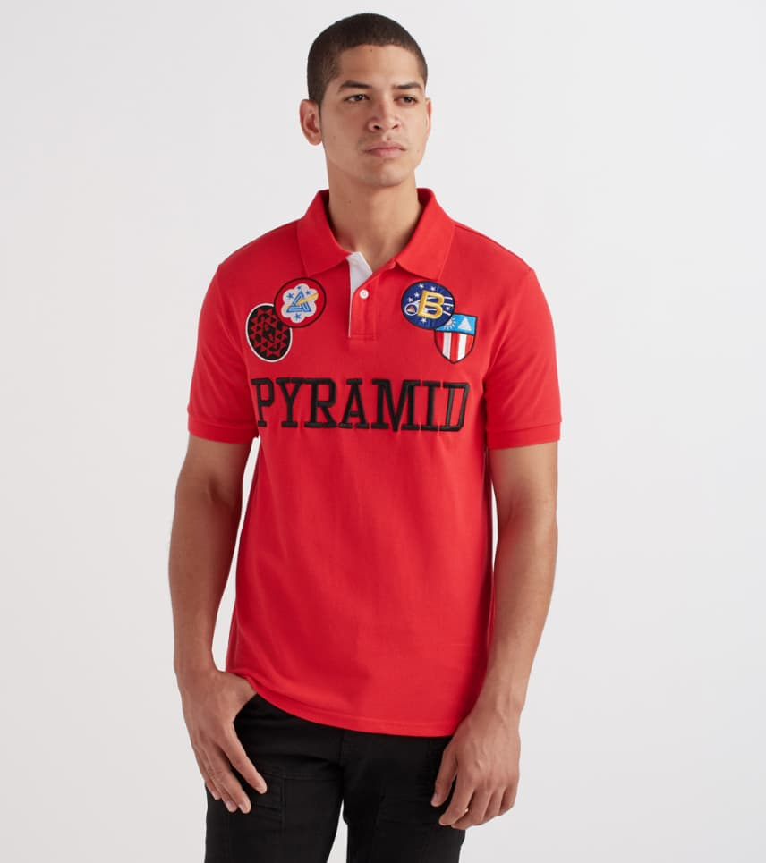 69c740dc7788 Black Pyramid Checker Patch Polo Shirt (Red) - Y1161144-RED