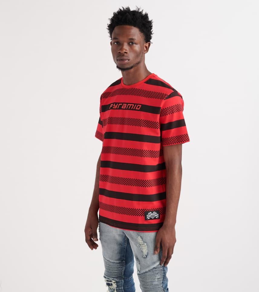 3c0bdf645085 Black Pyramid Checker Stripe Short Sleeve Tee (Red) - Y1161361-RED ...