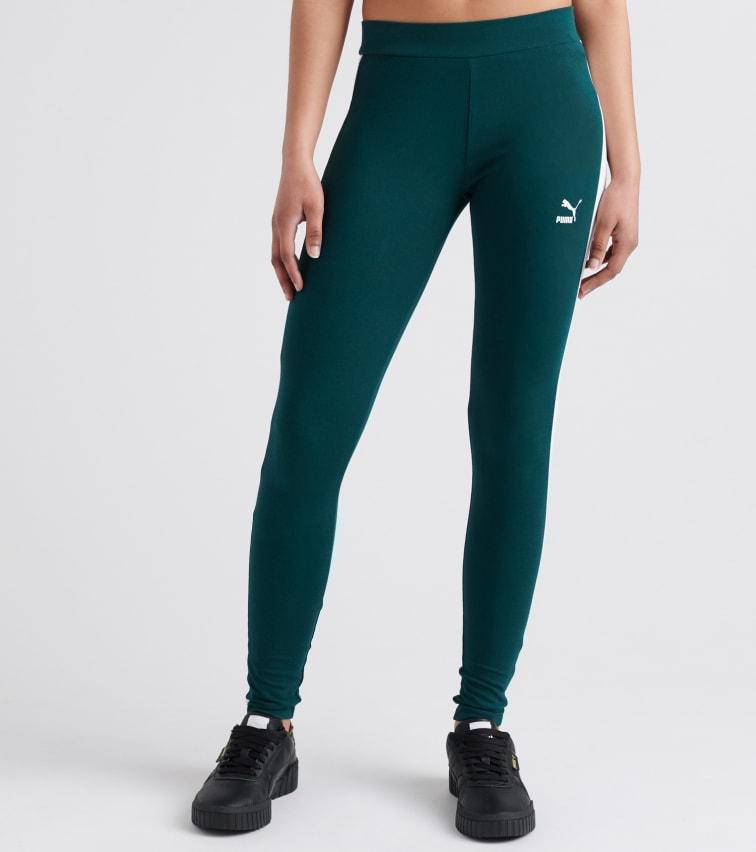 Puma Classics Logo T7 Legging In Dark Green