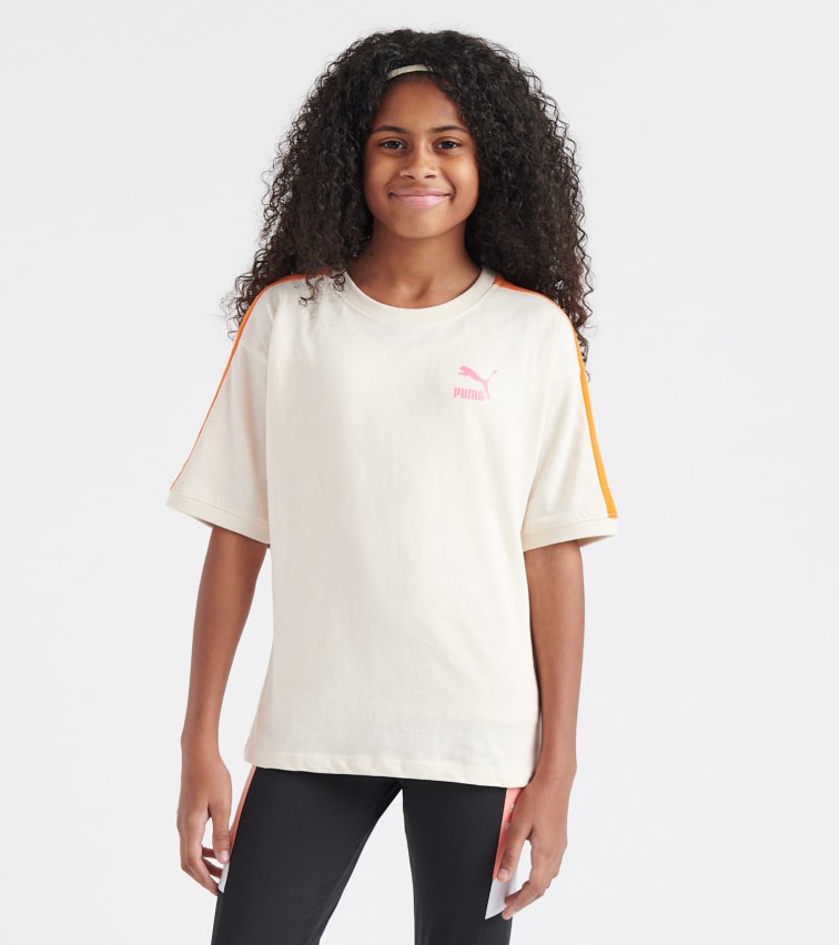 Puma T7 Short Sleeves Tee In Natural