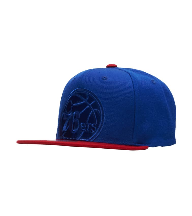 9bf5e75f0f1 Mitchell and Ness 76ers Cropped Satin Snapback Hat (Blue) - BH72DMP762TA