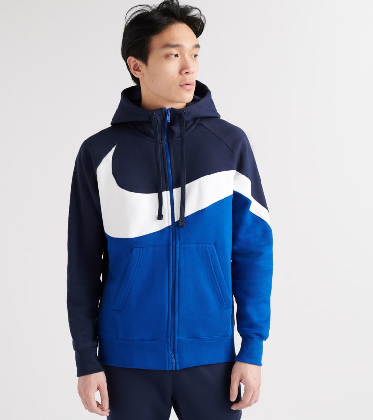 stable quality where to buy innovative design Nike Swoosh Fleece Hoodie In Navy | ModeSens