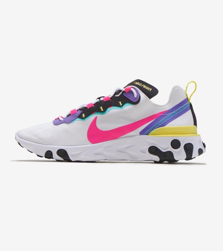 Nike React Element 55 Sneaker In Pink / White