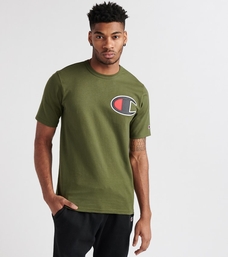 0923a24ab248 Champion Heritage Patch Logo Tee In Dark Green   ModeSens