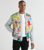 Members Only  Mash Print Bomber Jacket  Grey - MN30086-SLV | Jimmy Jazz