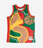 Mitchell And Ness  Big Face Supersonics Jersey  Green - MSTKBW19068-SEA | Jimmy Jazz