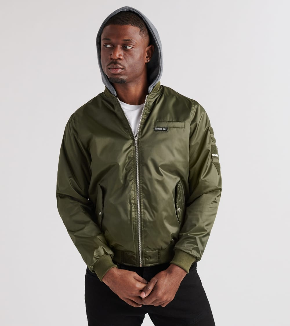 Members Only Mens Hooded Bomber Jacket Green